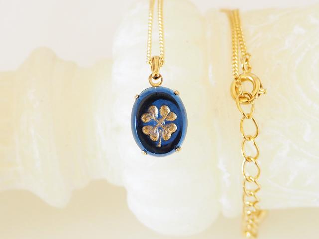 四つ葉のネックレス(ブルー)☆Pwca☆