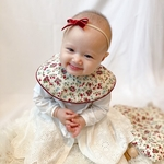 manmaru bib & head band set - flower red -