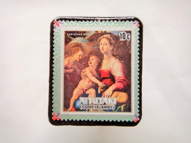 クック諸島 クリスマス切手ブローチ430
