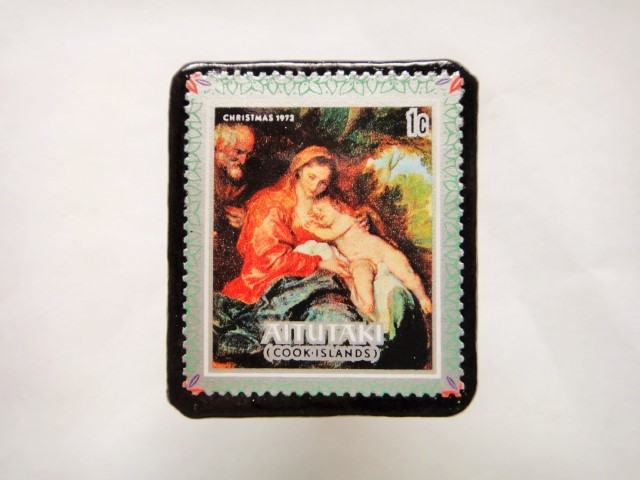 クック諸島 クリスマス切手ブローチ431