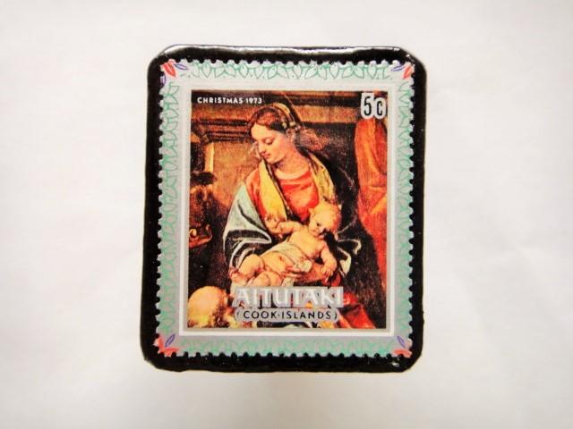 クック諸島 クリスマス切手ブローチ435