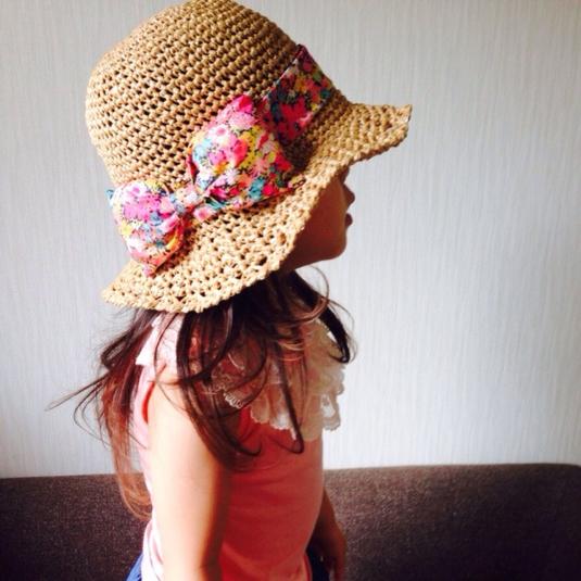 雑誌VERY掲載ベビー・キッズサイズ☆リバティリボン麦わら帽子