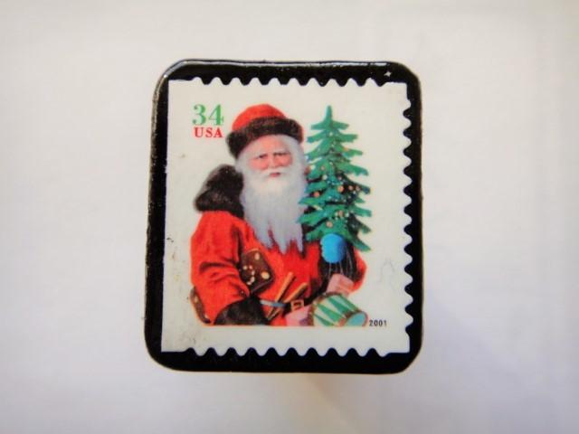 アメリカ  クリスマス切手ブローチ439