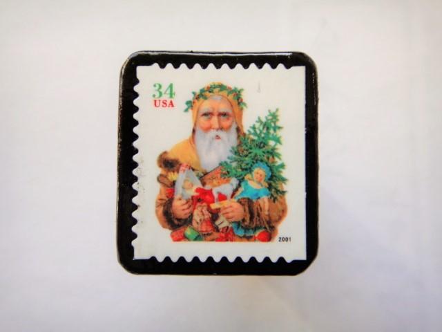 アメリカ  クリスマス切手ブローチ440