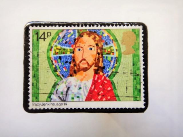 イギリス クリスマス切手ブローチ441