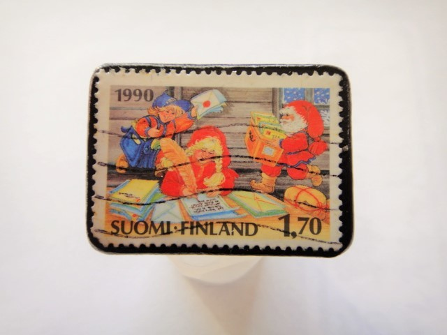 フィンランド クリスマス切手ブローチ452