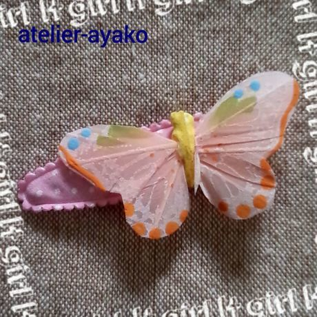 Xmas送料☆彡61 蝶のパッチンピン