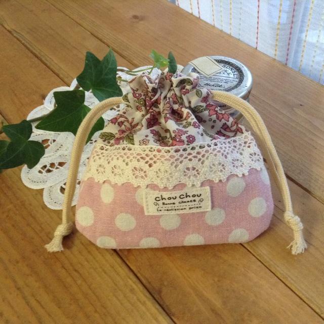 ちっちゃな巾着袋 アクセサリーケース☆小物入れ*花柄×ピンクドット*