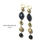 4pcs★opaque combination charm・gold×black(コンビネーションチャーム)