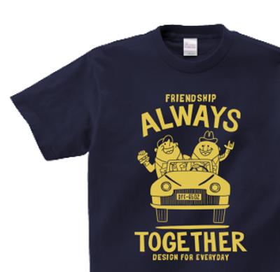 【再販】ビーンズマンとレトロ車 150.160.(女性M.L) S〜XL Tシャツ【受注生産品】