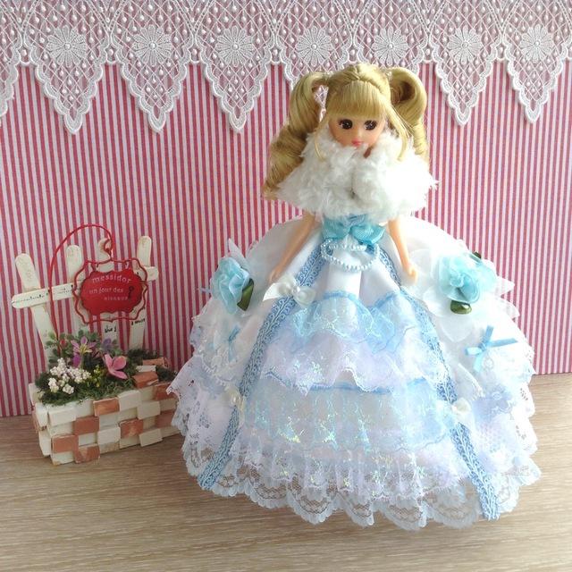 雪姫☆リカちゃん お姫様ドレス 一点物☆ブルー