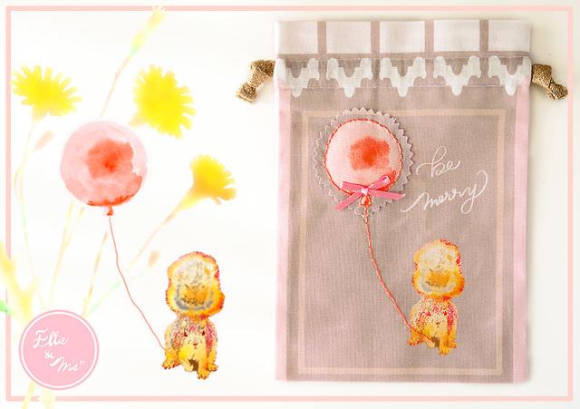 【Sale!!】 オシャレリスさんの街散歩 B タイプ ・ 巾着ポーチ