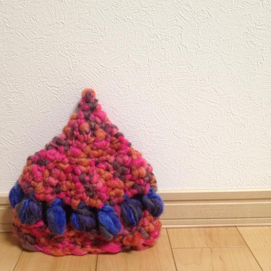 紡ぎ糸のふわもここびと帽子