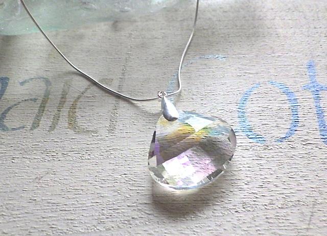 人魚の貝殻 クリスタルネックレス HUGE! *SV925*