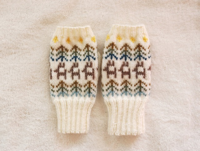 手編みの指なしミトン 【星空 森駆けるトナカイ】