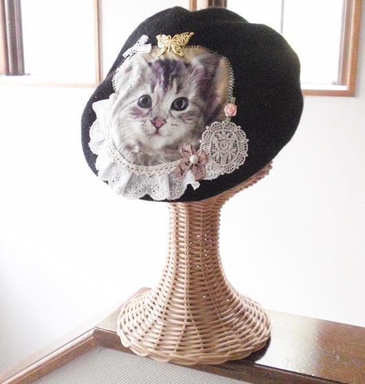 ペルシャ猫コラージュベレー帽★ブラック