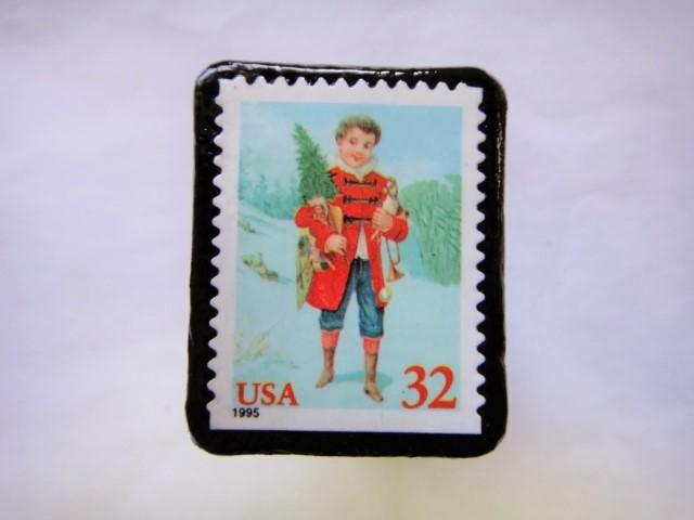 アメリカ  クリスマス切手ブローチ455