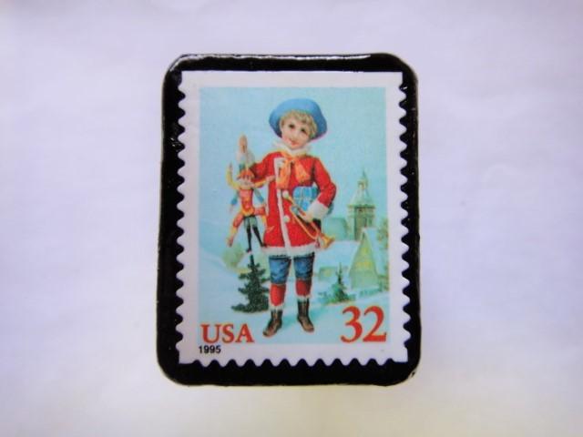 アメリカ  クリスマス切手ブローチ457