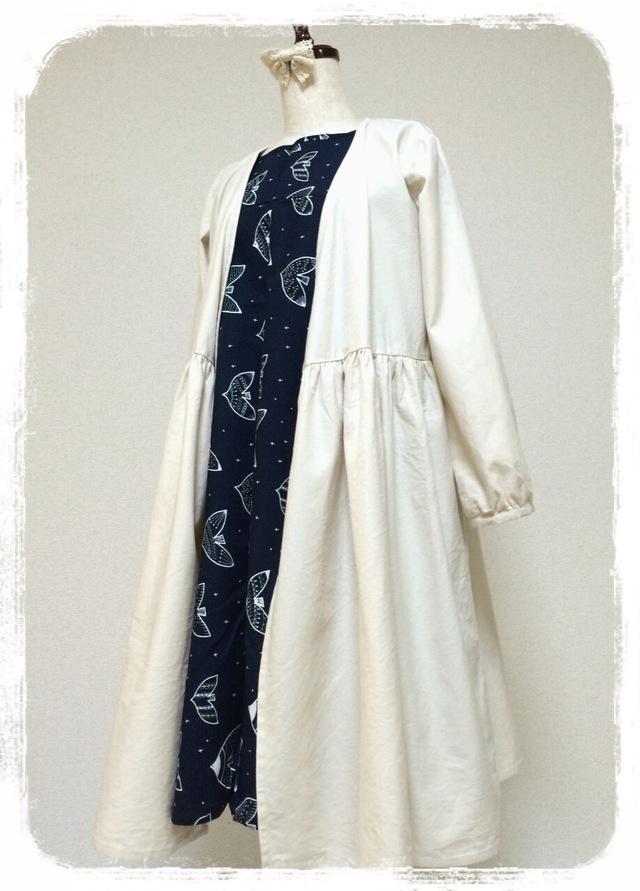 リボン結びの羽織りワンピース:オフホワイト