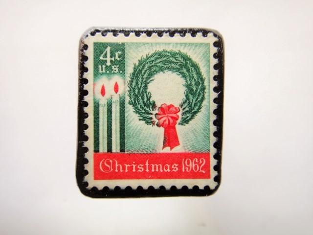 アメリカ クリスマス切手ブローチ 463