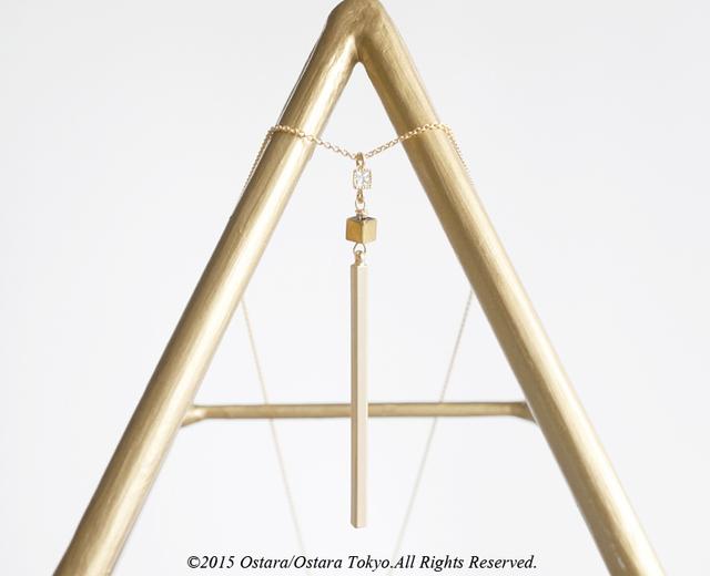 【14KGF】Long Necklace,CZ Skinny Stick,Tiny Gemstone Gold Hematite dice