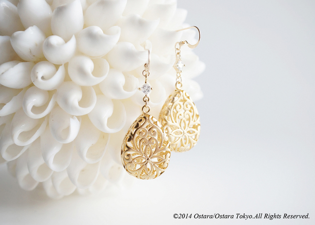 【14KGF】Earrings,16KGP Mat Gold Floral Teardrop Filigree,16KGP CZ