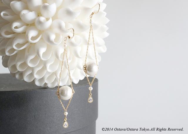 【14KGF】14KGF Chain Dangle Earrings,AAA Fresh Water Pearl,16KGP CZ,Cotton Pearl