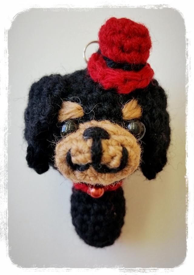 ダックスフンド 編みぐるみストラップ