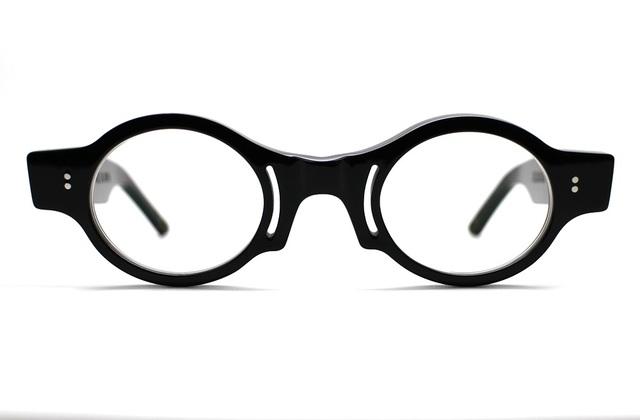 楕円とスリットの黒ぶちセルロイドメガネ018-BB