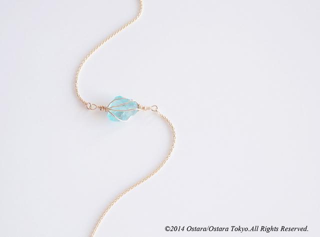 【14KGF】Wire Wrap Bracelet ,Gemstone -AAA Blue Apatite-