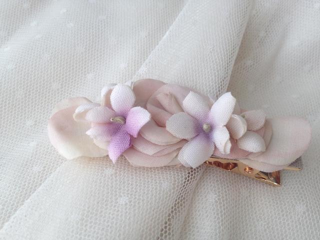 バラとスミレのクリップ pink×purple