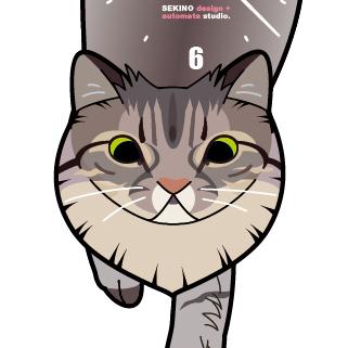 C-01 サバトラ(長毛)-猫の振り子時計