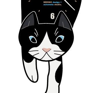 C-04 白黒ハチワレ-猫の振り子時計