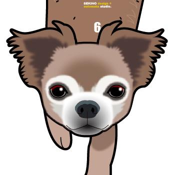 D-61 チワワ茶白(短毛)-犬の振り子時計