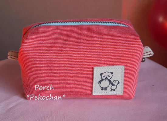 ニット生地のボックスポーチ・ほそーーい赤×ピンクボーダー4♪