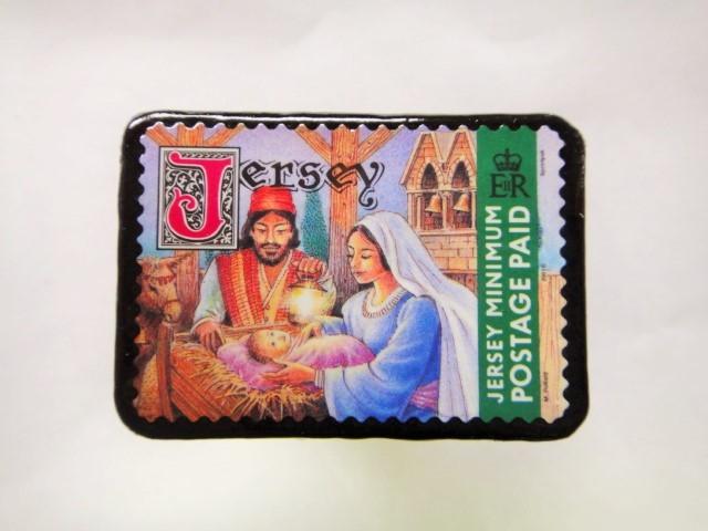 ジャージー島 クリスマス切手ブローチ 476