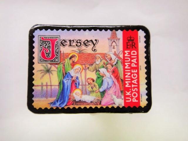 ジャージー島 クリスマス切手ブローチ 482