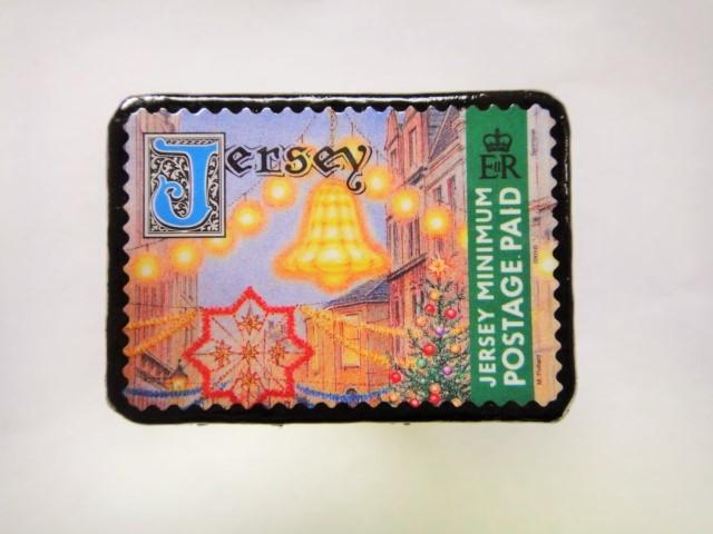 英国領ジャージー島 切手ブローチ 483