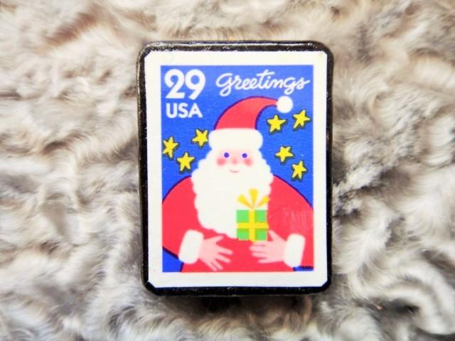 アメリカ  クリスマス切手ブローチ484
