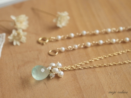 Seablue chalcedony long necklace