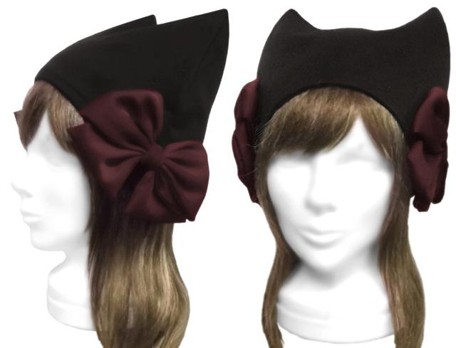 シフォンリボン飾り/ネコ耳帽子(ゆったり)◆コットンニット/黒