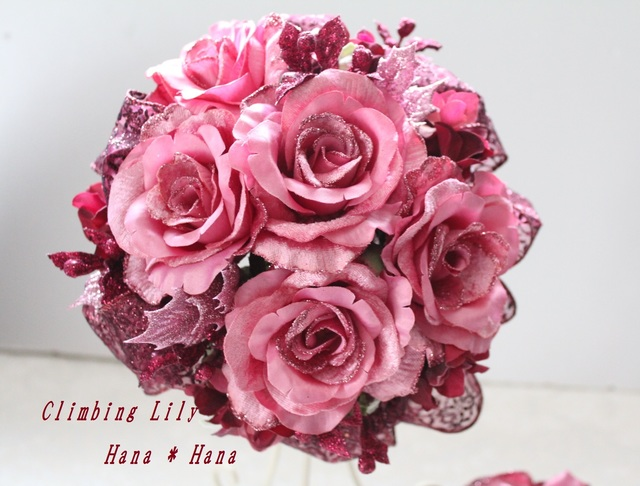 ウェディングブーケ キラキラバラ ピンク 現品