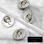 4個入)antique silver mode girl buttons