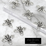 8個入)antique silver honey bee charm