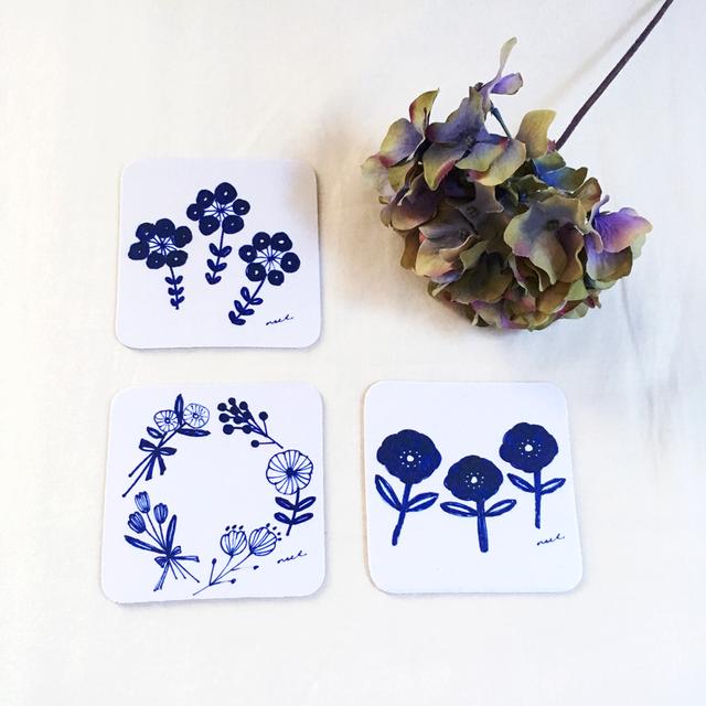 blue flowers コースター