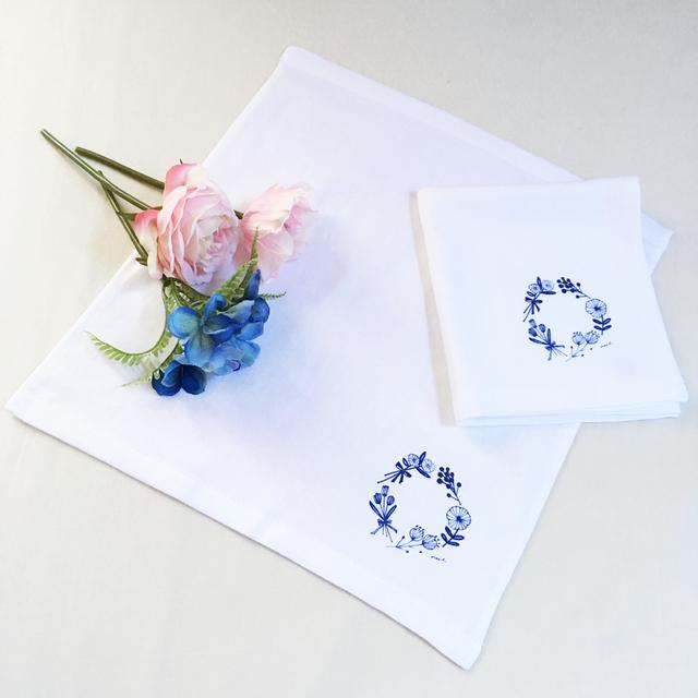 blue flowers ミニタオル