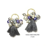 2pcs★full full tassel charm・bluegray(ビジュータッセルチャーム)