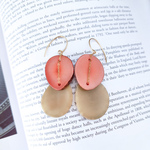 送料無料14kgf*Beige x Pink Tagua Nuts pierced earrings/earrings