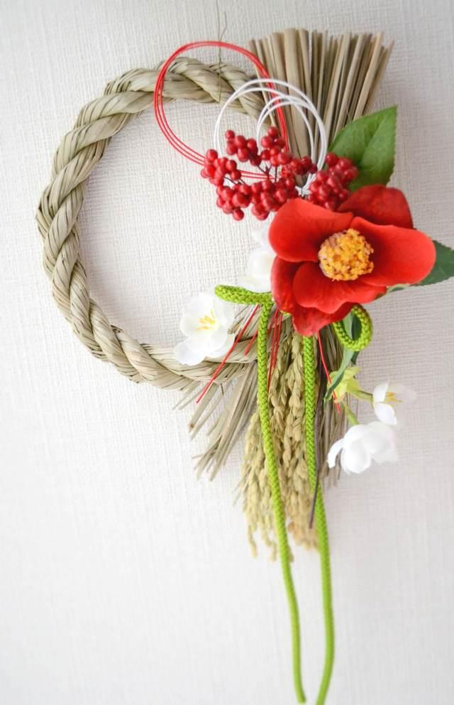 再販 7椿と桜のしめ縄リース