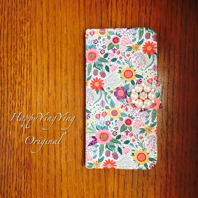 【穴2】【iPhone6Plus/iphone6sPlus】可愛いデザイン花手帳型★真珠